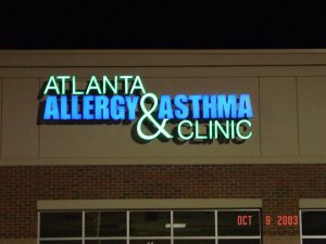 Atlanta Outdoor Signs & Exterior Signs client specific atlanta allergy lighted outdoor sign 300x225